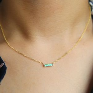 Jewelry - 18k Mini Bar Necklace Turquoise Luxe Merjuri